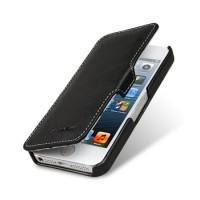 Кожаный винтажный чехол горизонтальная книжка с крепежной застежкой для Apple Iphone 5/5s/SE Черный