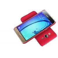Пластиковый матовый нескользящий премиум чехол для Samsung Galaxy J1 (2016) Красный