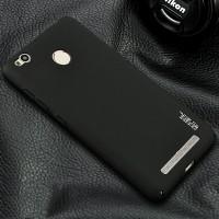 Пластиковый непрозрачный матовый чехол металлик с защитой торцев для Xiaomi RedMi 3 Pro/3S Черный