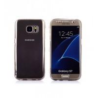 Двухкомпонентный силиконовый матовый полупрозрачный чехол горизонтальная книжка с акриловой полноразмерной транспарентной смарт крышкой для Samsung Galaxy S7 Черный
