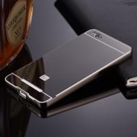 Двухкомпонентный чехол c металлическим бампером с поликарбонатной накладкой и зеркальным покрытием для Xiaomi Mi4i Черный