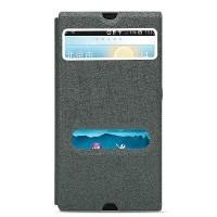 Текстурный чехол горизонтальная книжка подставка на пластиковой основе с окном вызова и свайпом для Sony Xperia Z Серый