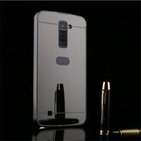 Двухкомпонентный чехол c металлическим бампером с поликарбонатной накладкой и зеркальным покрытием для LG K10 Черный