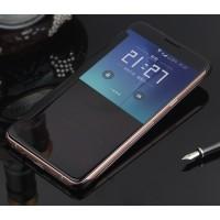 Пластиковый непрозрачный матовый металлик чехол с полупрозрачной крышкой с зеркальным покрытием для Samsung Galaxy J5 (2016) Черный