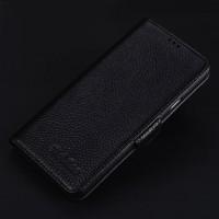 Кожаный чехол портмоне подставка (премиум нат. кожа) с крепежной застежкой для Iphone 7  Черный