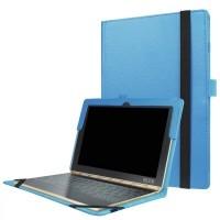 Чехол книжка с рамочной защитой экрана и крепежом для стилуса для Lenovo Yoga Book Голубой