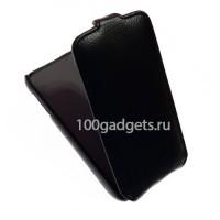 Кожаный чехол книжка для Alcatel One Touch Idol Mini Черный