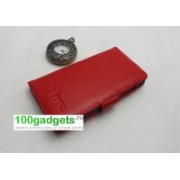 Кожаный чехол портмоне (нат. кожа) для HTC One M7 Dual SIM Красный