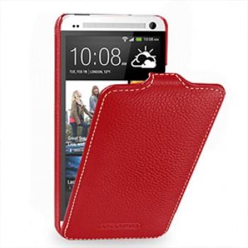 Кожаный чехол книжка вертикальная (нат. кожа) для HTC One M7