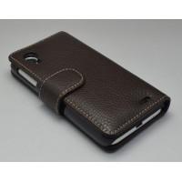 Кожаный чехол портмоне (нат. кожа) для Lenovo Ideaphone P770 Черный