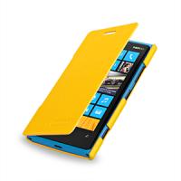 Чехол для Nokia Lumia 920 кожаный (нат. кожа) книжка горизонтальная Желтый