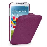 Кожаный чехол книжка вертикальная (нат. кожа) для Galaxy S4 Фиолетовый