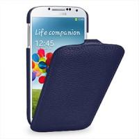 Кожаный чехол книжка вертикальная (нат. кожа) для Galaxy S4 Синий
