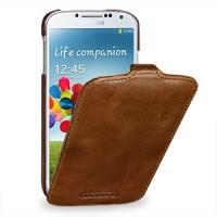 Кожаный эксклюзивный чехол ручной работы (цельная телячья кожа) для Samsung Galaxy S4 коричневый