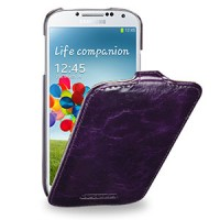 Кожаный эксклюзивный чехол ручной работы (цельная телячья кожа) для Samsung Galaxy S4 фиолетовый