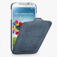 Кожаный эксклюзивный чехол ручной работы (винтажная кожа) для Samsung Galaxy S4 синий
