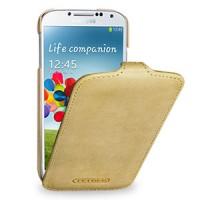 Кожаный эксклюзивный чехол ручной работы (винтажная кожа) для Samsung Galaxy S4 бежевый
