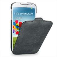 Кожаный эксклюзивный чехол ручной работы (винтажная кожа) для Samsung Galaxy S4 серый