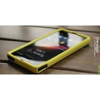 Силиконовый софт-тач премиум чехол для Sony Xperia Z Желтый