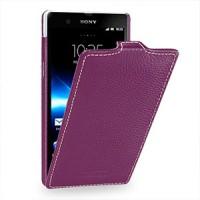 Кожаный чехол вертикальная книжка (нат. кожа) для Sony Xperia Z Фиолетовый