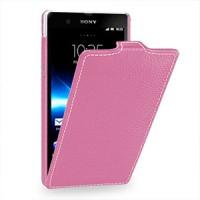 Кожаный чехол вертикальная книжка (нат. кожа) для Sony Xperia Z Розовый