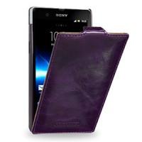 Кожаный эксклюзивный чехол ручной работы (цельная телячья кожа) для Sony Xperia Z фиолетовый