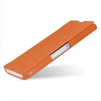 Кожаный чехол горизонтальная книжка (нат. кожа) для Sony Xperia Z Оранжевый