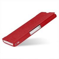 Кожаный чехол горизонтальная книжка (нат. кожа) для Sony Xperia Z Красный