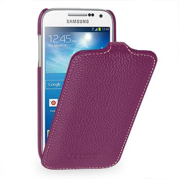Вертикальная книжка (нат. кожа) для Samsung Galaxy S4 Mini фиолетовая