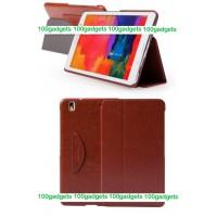 Кожаный чехол смарт флип подставка (нат. кожа) серия First Wish для Samsung Galaxy Tab Pro 8.4 Коричневый