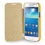 Кожаный чехол книжка горизонтальная (нат. кожа) для Samsung Galaxy S4 Mini желтая