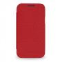 Кожаный чехол книжка горизонтальная (нат. кожа) для Samsung Galaxy S4 Mini красная