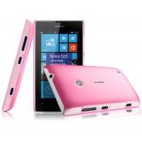 Пластиковый полупрозрачный чехол для Nokia Lumia 520/525 Розовый
