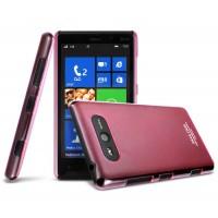 Ультратонкий пластиковый полупрозрачный чехол для Nokia Lumia 820 Красный