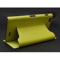 Кожаный чехол флип подставка (нат. кожа рептилии) серия Call of Nature для Lenovo K900 Зеленый