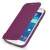Кожаный чехол книжка горизонтальная (нат. кожа) для Samsung Galaxy S4 Mini фиолетовая