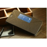 Чехол смарт флип подставка с окном вызова серия Crossed Lines для Huawei Mediapad X1 Бежевый