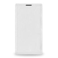 Кожаный чехол книжка горизонтальная (нат. кожа) для Nokia Lumia 1320 Белый