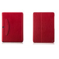 Кожаный чехол смарт флип подставка (нат. кожа) серия First Wish для Samsung Galaxy Note Pro 12.2 Красный