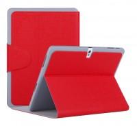 Чехол смарт флип подставка текстурный с застежкой для Samsung Galaxy Tab Pro 10.1 Красный