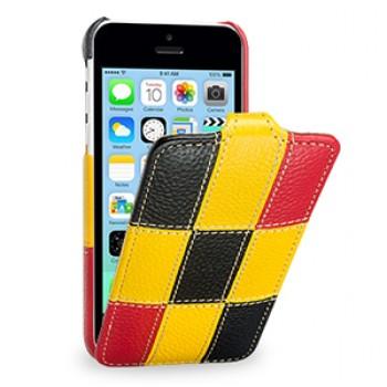 Кожаный премиум чехол книжка вертикальная (нат. кожа) серия Pieces для Iphone 5c желтая