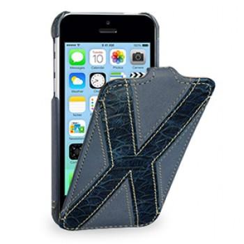 Кожаный премиум чехол книжка вертикальная (2 вида нат. кожи) серия X Style для Iphone 5c синяя/синяя