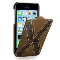 Кожаный премиум чехол книжка вертикальная (2 вида нат. кожи) серия X Style для Iphone 5c коричневая/коричневая