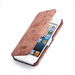 Кожаный чехол книжка горизонтальная (нат. кожа слона) для Iphone 5/5s/SE