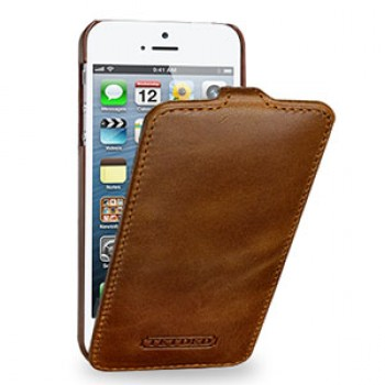 Кожаный чехол книжка вертикальная (цельная телячья кожа) для Iphone 5s/SE