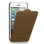Кожаный чехол книжка вертикальная (винтажная кожа) для Iphone 5s/SE