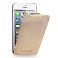 Кожаный чехол книжка вертикальная (винтажная кожа) для Iphone 5/5s/SE