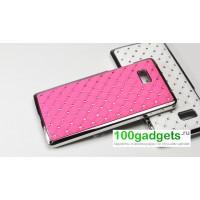 Чехол пластик/металл со стразами для HTC Desire 600 Розовый