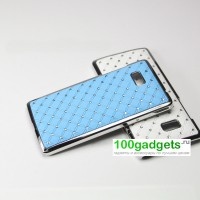 Чехол пластик/металл со стразами для HTC Desire 600 Голубой