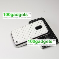 Чехол пластик/металл со стразами для Nokia Lumia 620 Белый